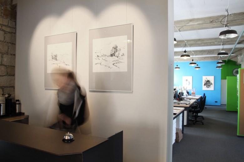 Während des Aufbaus der Ausstellung
