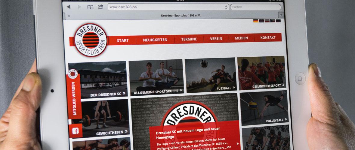 Dresdner SC 1898 e.V., Relaunch Dachmarke, Layout Corporate Design, Geschäftsausstattung, Außenwerbung