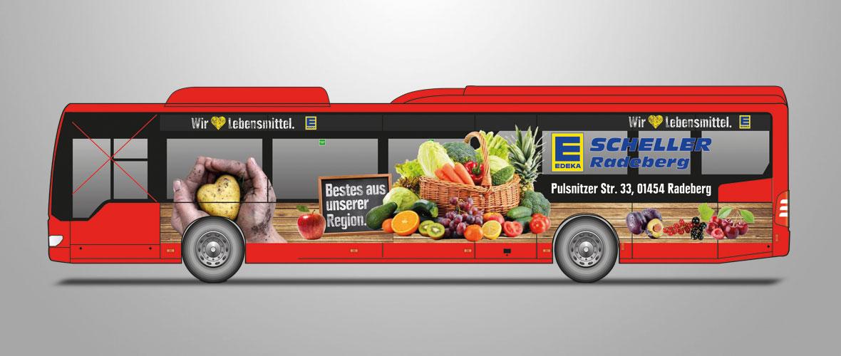 Busbeschriftung EDEKA Scheller in Radeberg